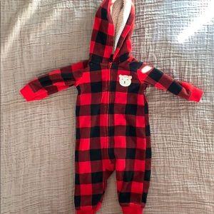 Carters Red check fleece romper with hood